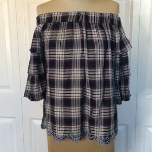 NWT plaid ruffle off shoulder scallop bottom top S